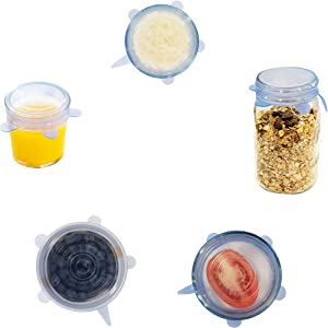 Small Size Silicone Wrap Stretch & Seal Covers [Durable BPA-Free Reusable Microwave-safe Flex Lids] Expandable Universal Spill-proof Fit for Small Bowl, Food Saver, Storage Container, Jar (6 Pack Set)