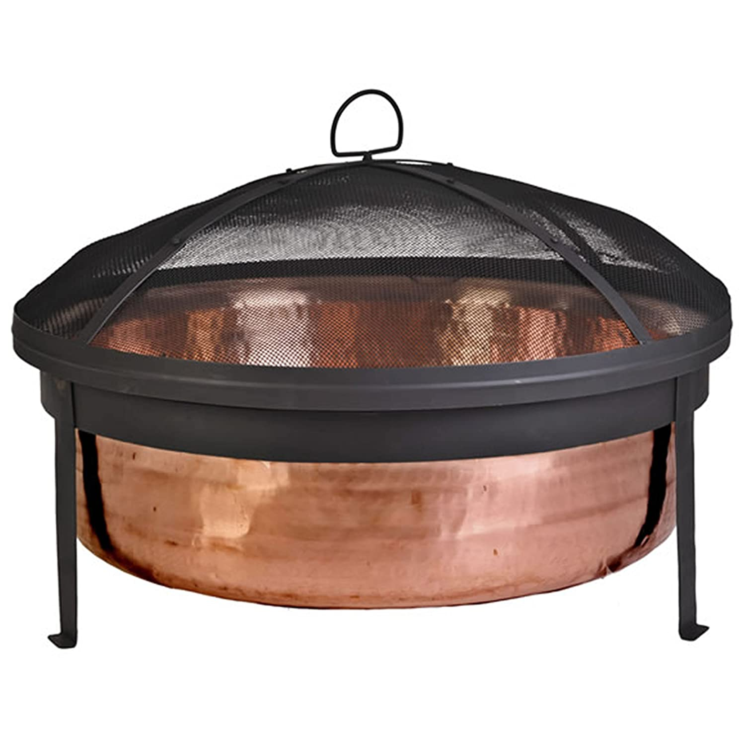 Amazon com cobraco sh101 hand hammered 100 copper fire pit with screen and cover garden outdoor