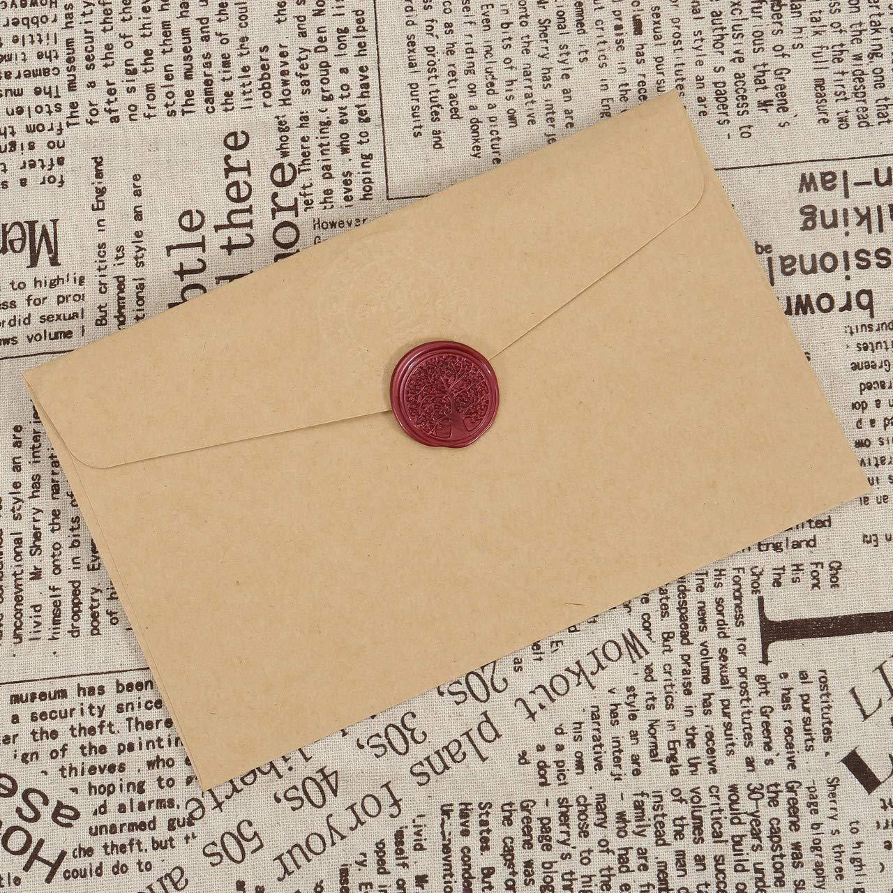 Mogokoyo Sigillo di Cera Timbro Vintage Classico Serie Fiaba in Ottone e Legno per Lettera Busta Documenti Albero della vita #1