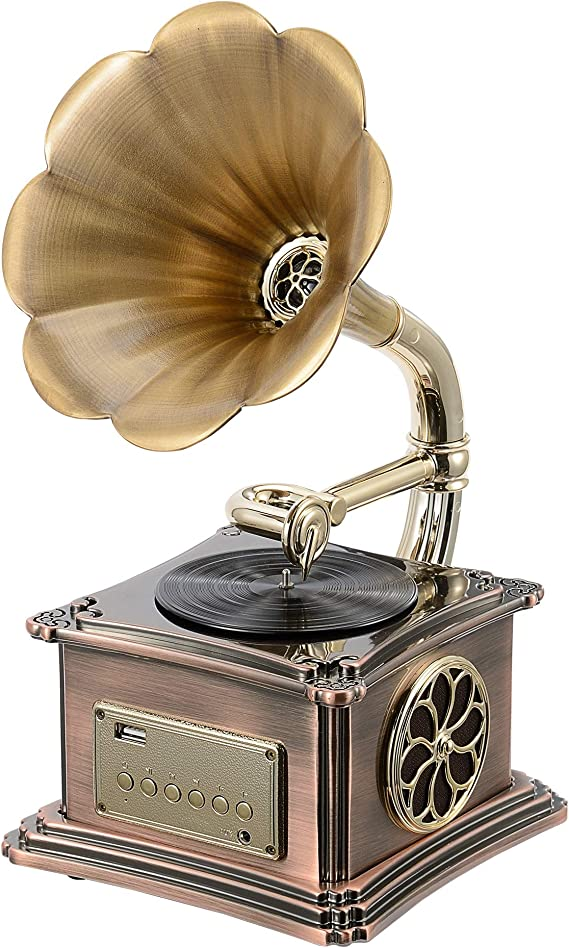 Mini Vintage Retro Classic Gramophone Phonograph Shape Stereo Speaker Sound System Music Box 3.5mm Audio Blue Tooth 4.2 Aux-in/USB Flash Drive Size: (8.19'' x 6.73'' x 13.11'')