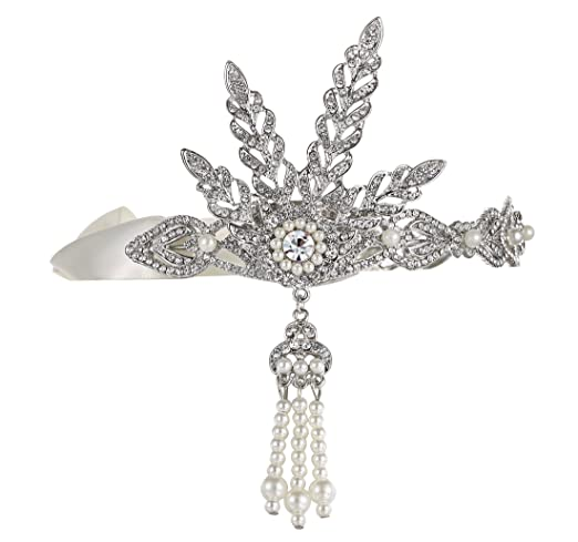1920s Flapper Headbands Silver-Tone The Great Gatsby Inspired Art Deco Wedding Tiara Headpiece Headband $13.99 AT vintagedancer.com