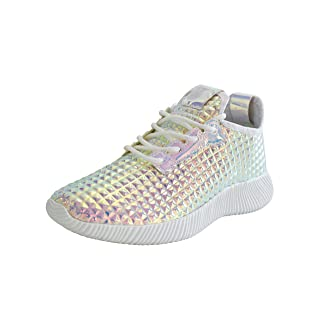 ROXY ROSE Women Metallic Leather Sneaker Lightweight Quilted Lace Up Pyramid Studded 9 B(M) US, Pink Hologram