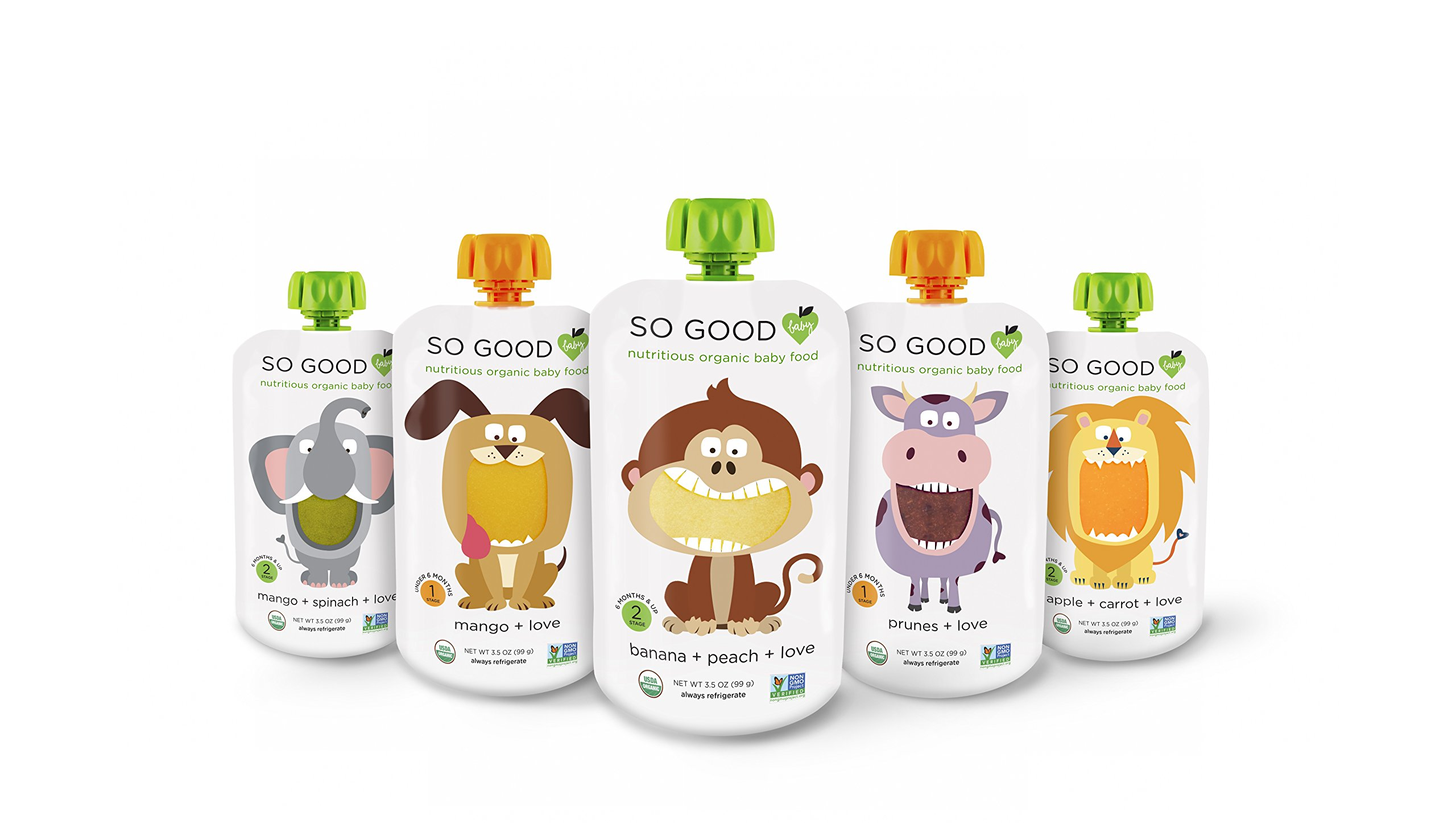 ORGANIC BABY FOOD POUCHES: STAGE 1 + 2 SAMPLER (30 COUNT)