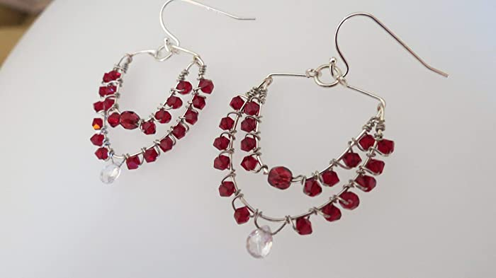 ec78a1a134189 Amazon.com: Handmade and designed deep red Swarovski,Silver hand ...