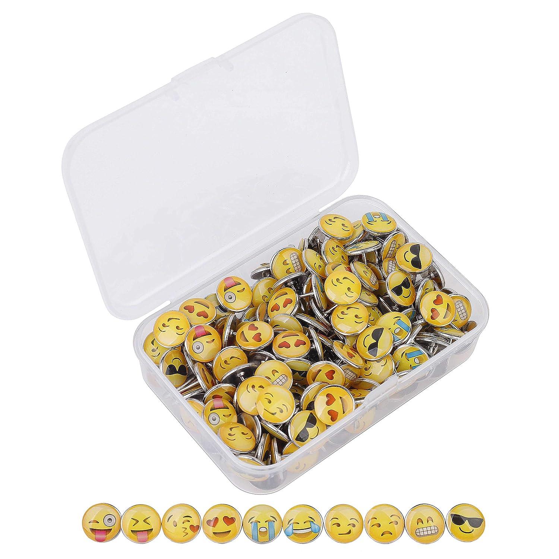 Puntine da Disegno 200 Pezzi Mini Emoticon multipla Puntina Per Ufficio Scuola Domestica QIMEI-SHOP