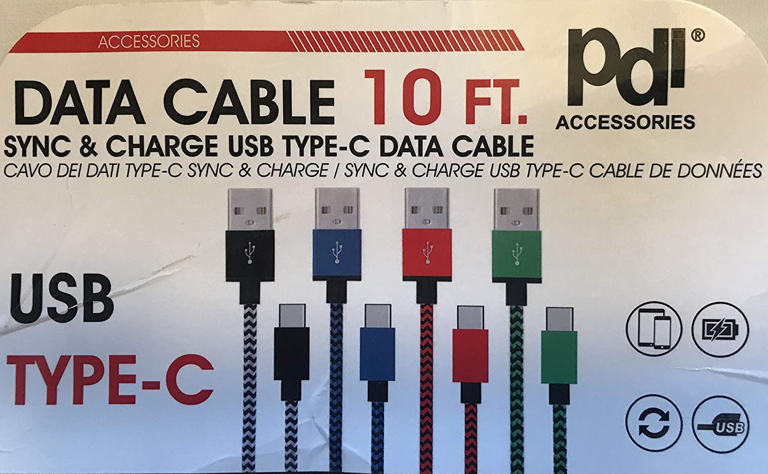 Type-C USB 10FT Sync /& Charge Data Cable 4 Pack