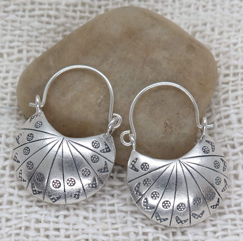 Sterling Silver Long Hammered Crescent Boho Statement Dangle Earrings Handmade Shinny Half Moon Shape Plate Bohemian Drop Earrings