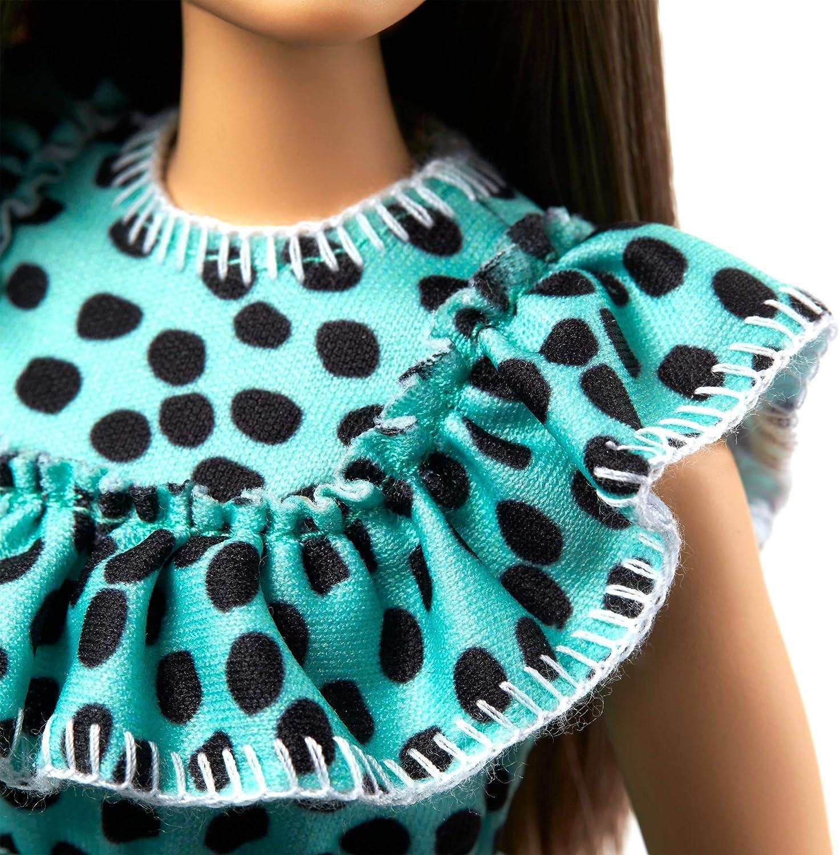 jouet pour enfant GHW63 Barbie Fashionistas poup/ée mannequin #149 aux longs cheveux bruns et avec une robe /à pois