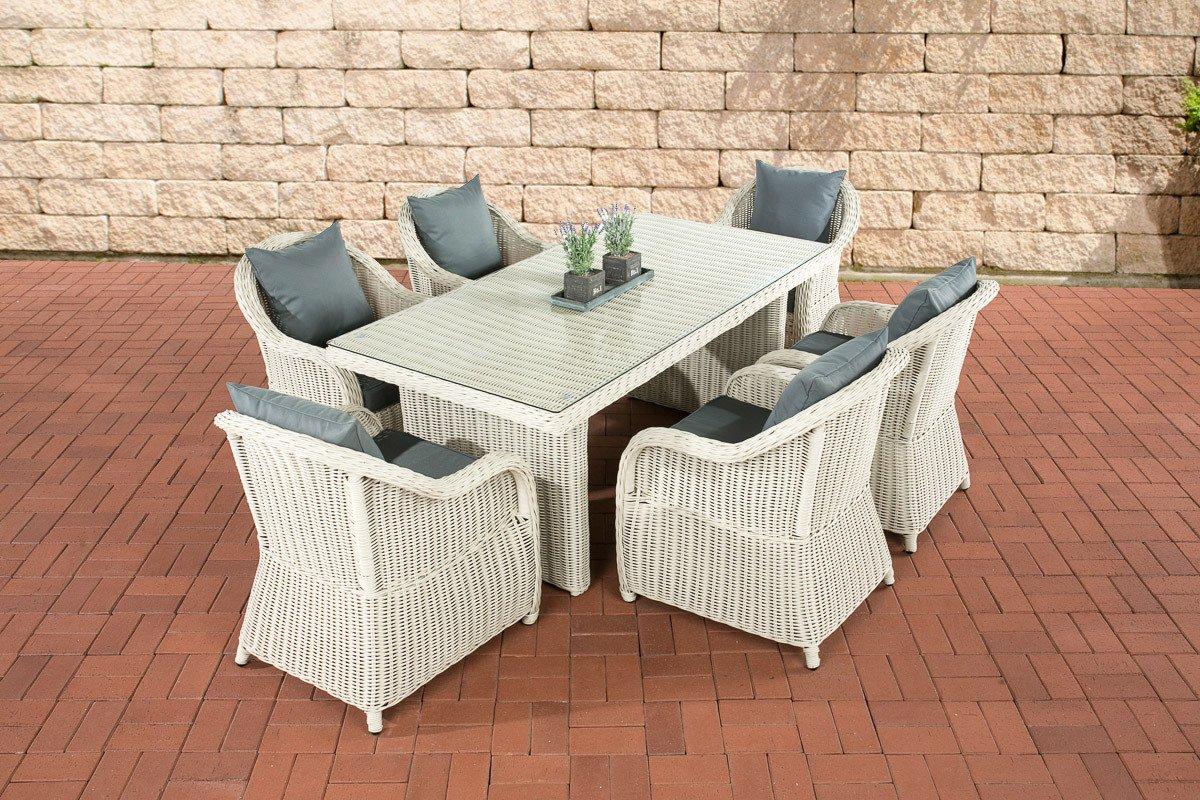 CLP Polyrattan Essgruppe LAVELLO, 6 Sessel inkl. Polster + Tisch 180 x 90 cm, Premiumqualität: 5 mm RUND-Rattan Bezugfarbe: Eisengrau, Rattan Farbe: Perlweiß