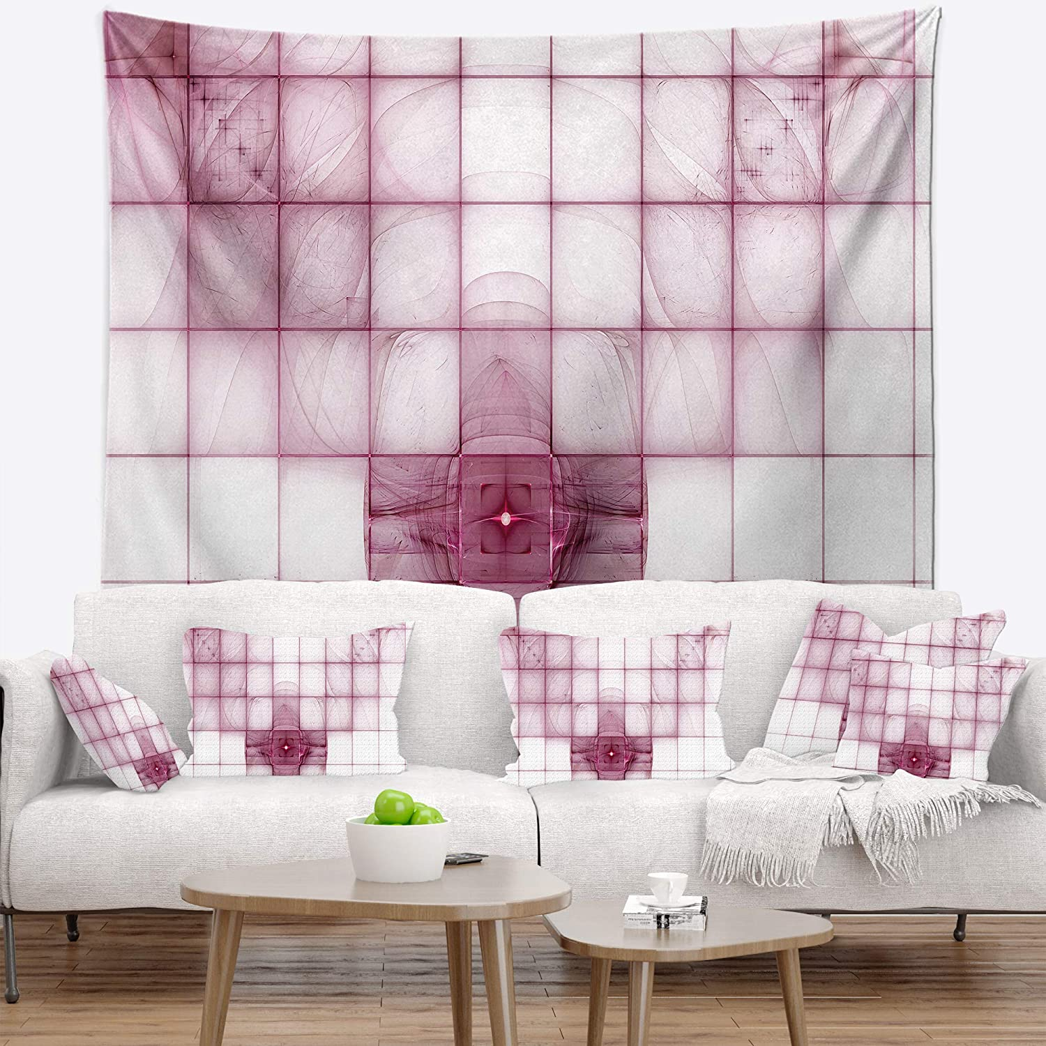 Medium 39 In X 32 In Designart Tap16054 39 32 Purple Bat On Rader Screen Abstract Blanket Décor Art For Home And Office Wall Tapestry Created On Lightweight Polyester Fabric Tapestries Home Décor