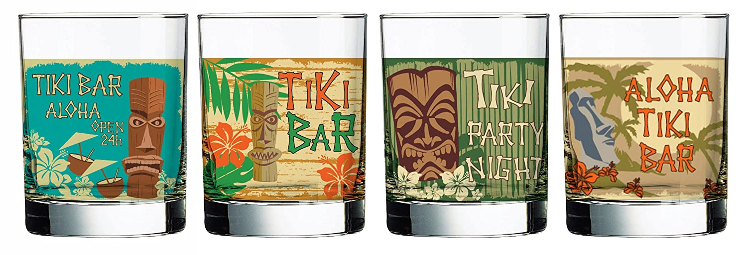 Luminarc Tikis Decorated Double Old Fashioned (Set of 4), 13.25 oz L1167