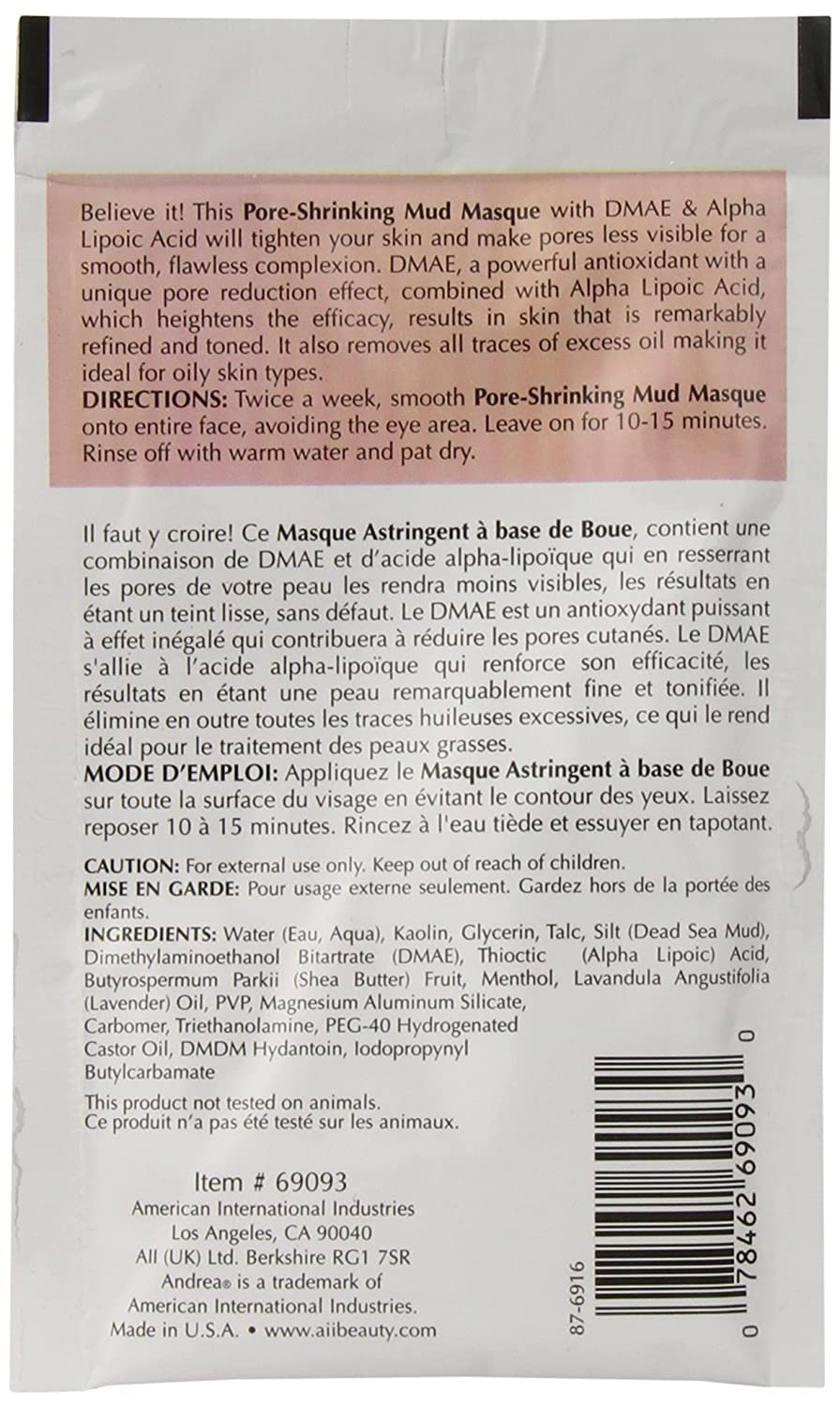 Andrea Face Spa Pore Shrinking Mud Face Masque, 0.5-Ounce Pack of 72