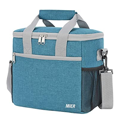 MIER 24 Can Large Capacity Soft Cooler Tote Insulated Lunch Bag Outdoor Picnic Bag, Ocean Blue: Kitchen & Dining