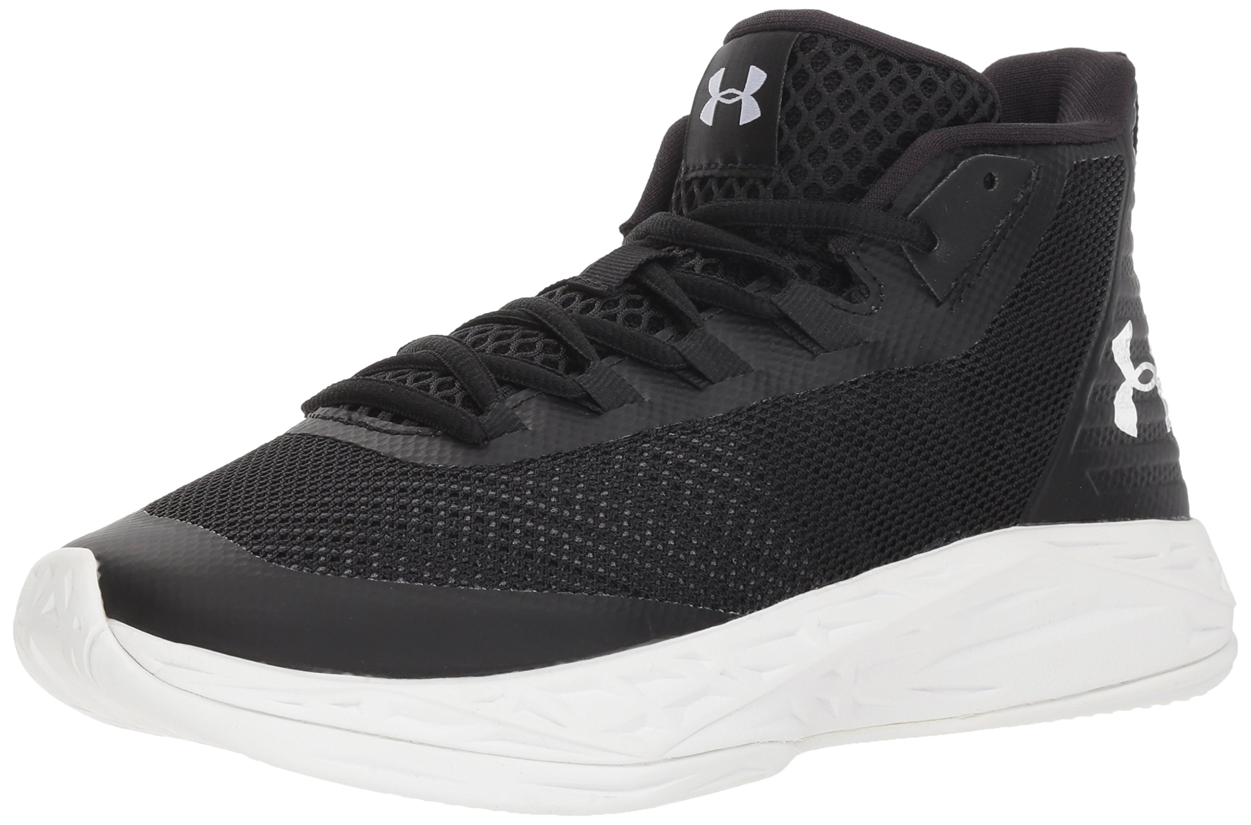 Under Armour Women's Jet Mid Basketball Shoe, Black (002)/White, 7 by Under Armour