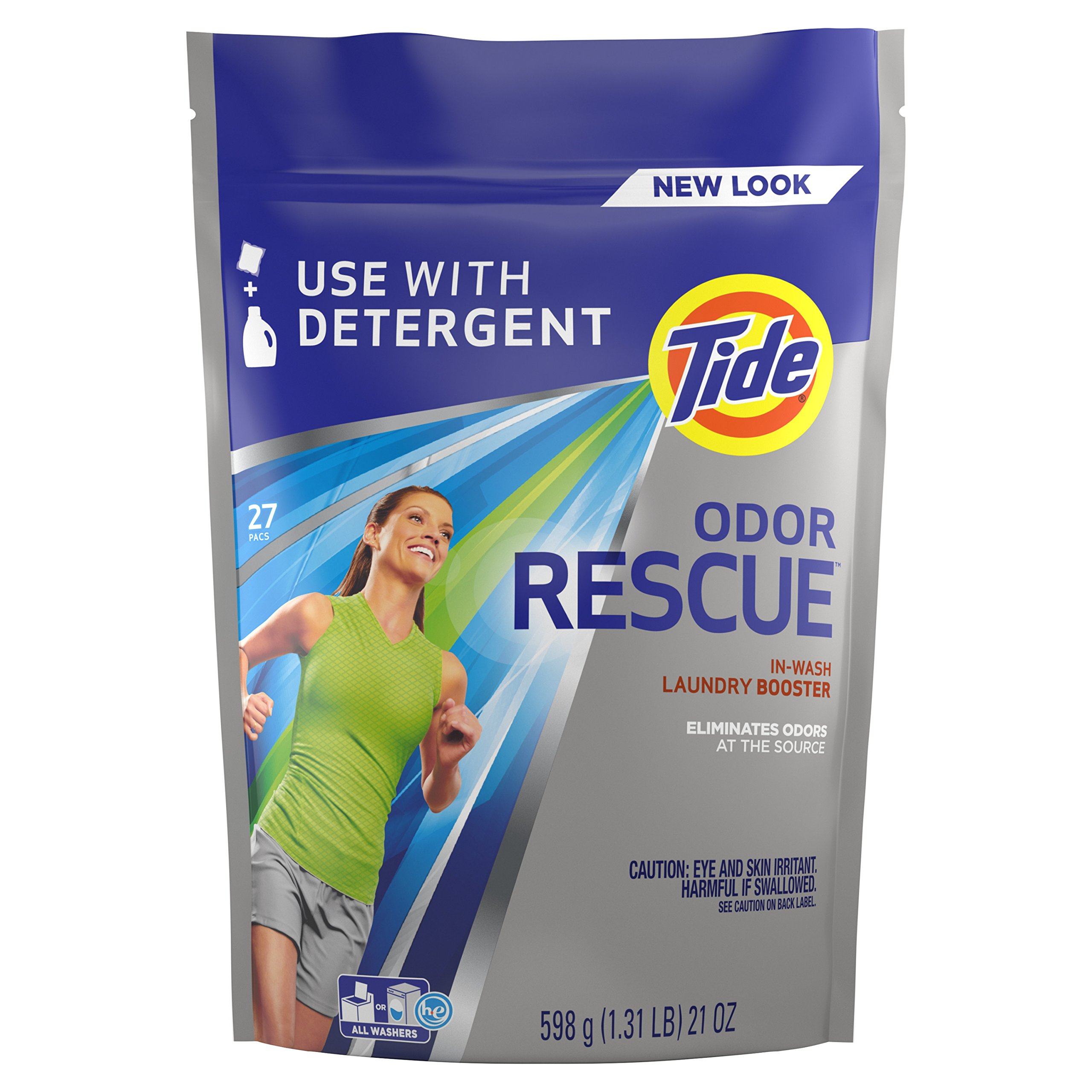 Tide Odor Rescue In-Wash Laundry Booster, 27 pacs (Packaging May Vary)