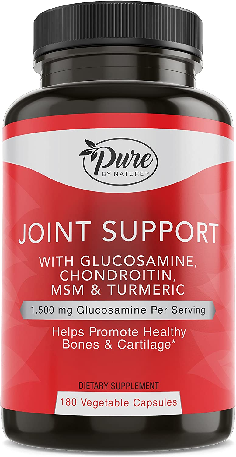 Pure By Nature Glucosamine with Chondroitin Turmeric MMS Boswellia Joint Pain Relief Supplement, 180 Count