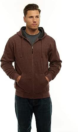 Men's Unique Heavyweight Full Zip Speckled Hoodie Sweatshirt, Thermal Knit Sweater