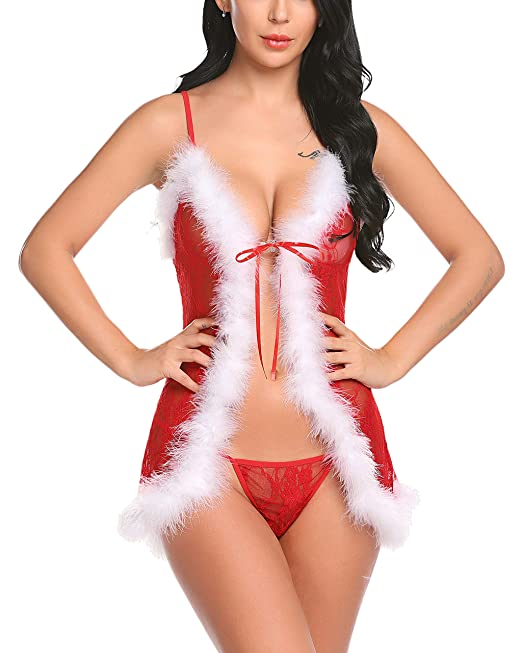 436ef9cbd Avidlove Women Red Christmas Babydoll Mesh Chemises Santa Lingerie Lace  Outfits Red S