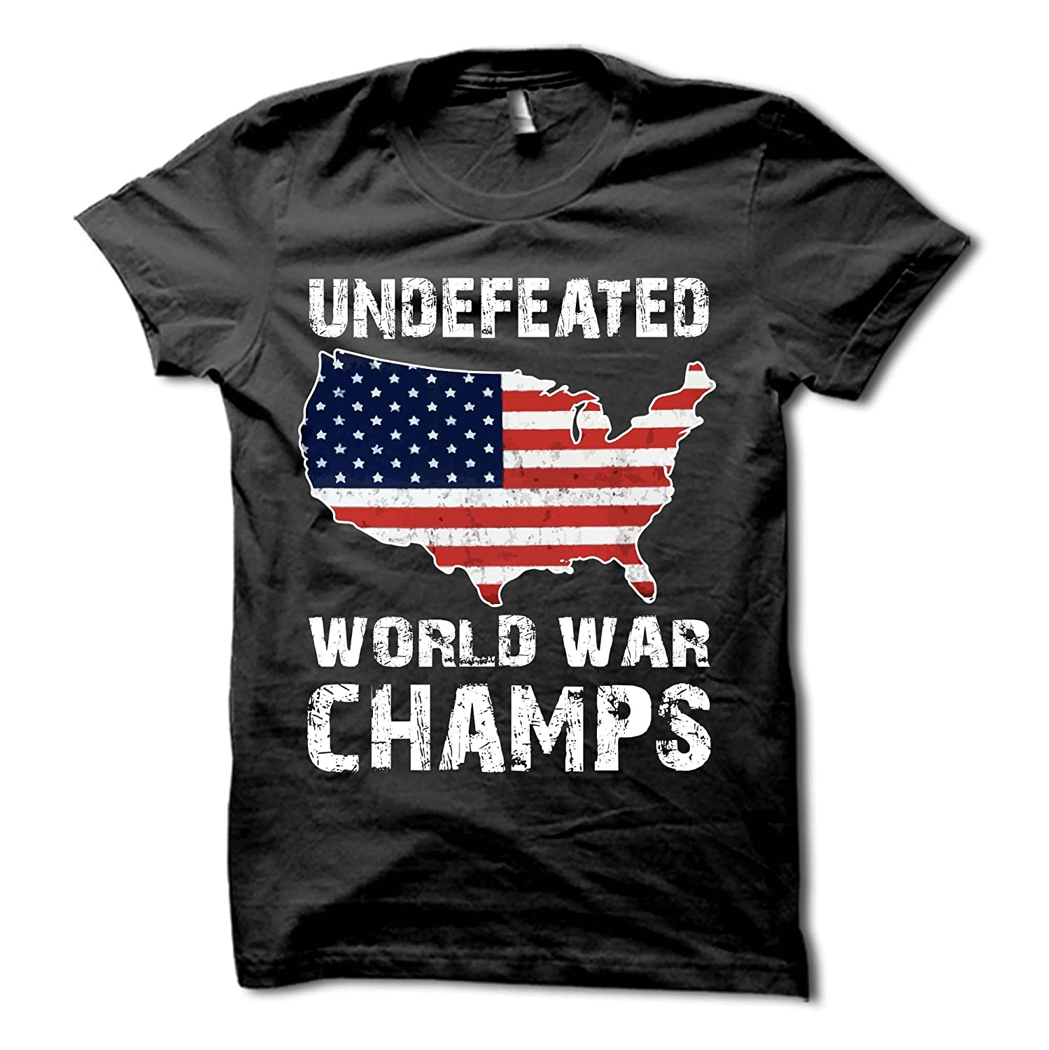 4d5a7755 Undefeated Back to Back World War Champs Shirt - USA T-Shirt - Patriotic Tee  | Amazon.com