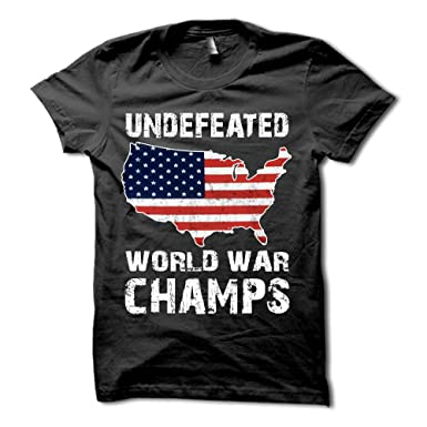 e8d2fc2e3 Undefeated Back to Back World War Champs Shirt - USA T-Shirt - Patriotic Tee  | Amazon.com