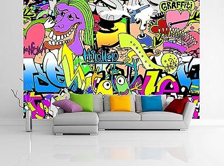 removable wallpaper mural peel \u0026 stick graffiti wall urban art (83hremovable wallpaper mural peel \u0026 stick graffiti wall urban art (83h x 124w) amazon co uk diy \u0026 tools