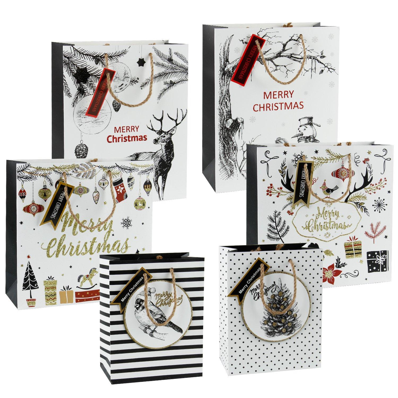 RUSPEPA Merry Bag -Gift Bag with Hemp Handle and Tags for Wrapping Holiday presents
