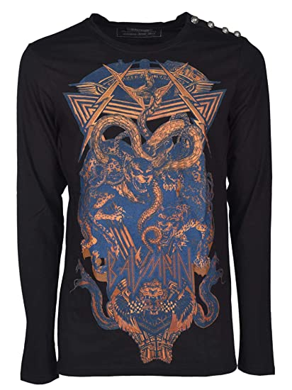 9a4a81c8 Image Unavailable. Image not available for. Color: Balmain Men's  H8651i066176 Black Cotton T-Shirt