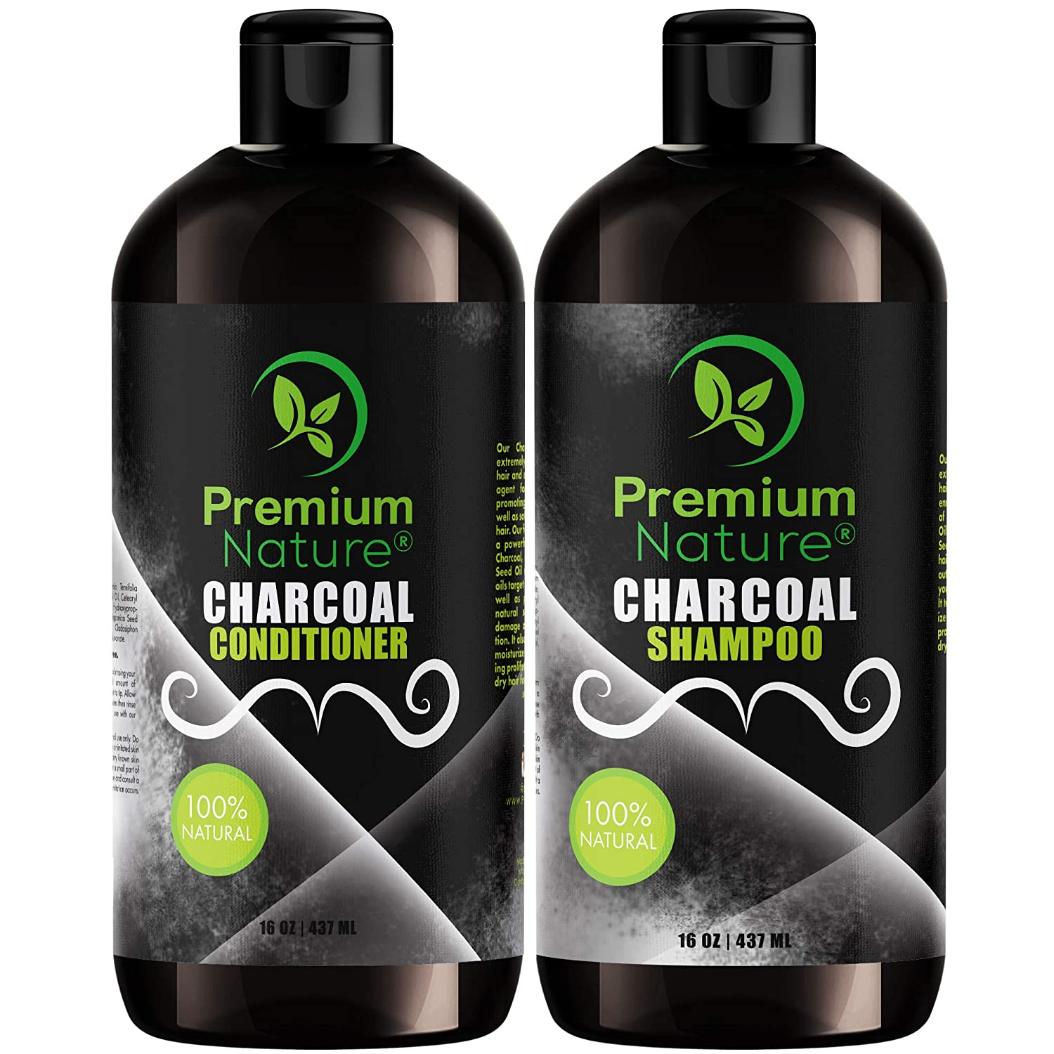 Charcoal Shampoo & Conditioner Sulfate Free - Natural Volumizing & Moisturizing Anti Dandruff Activated Charcoal Hair Shampoo Conditioner for Oily Dry Scalp Damaged Color Treated Hair Mens & Women Set