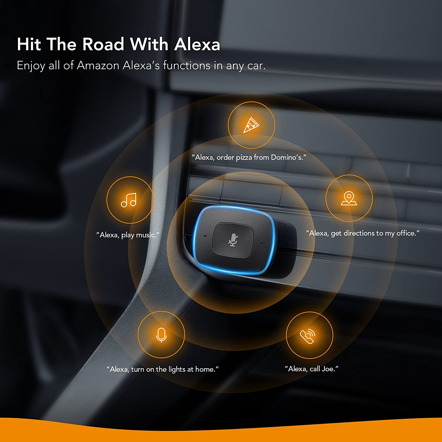 Voice Initiated Calling Roav Viva by Anker Alexa-Enabled 2-Port USB Car Charger in-Car Navigation and Music Streaming Compatible with Android Phones and iPhone Renewed