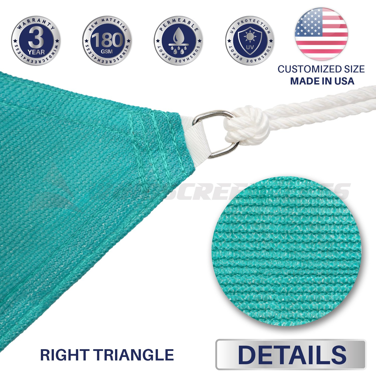Windscreen4less 18 x 18 x 26 Right Triangle Sun Shade Sail with 8 inch Hardware Kit – Turquoise Green Durable UV Shelter Canopy for Patio Outdoor Backyard – Custom Size