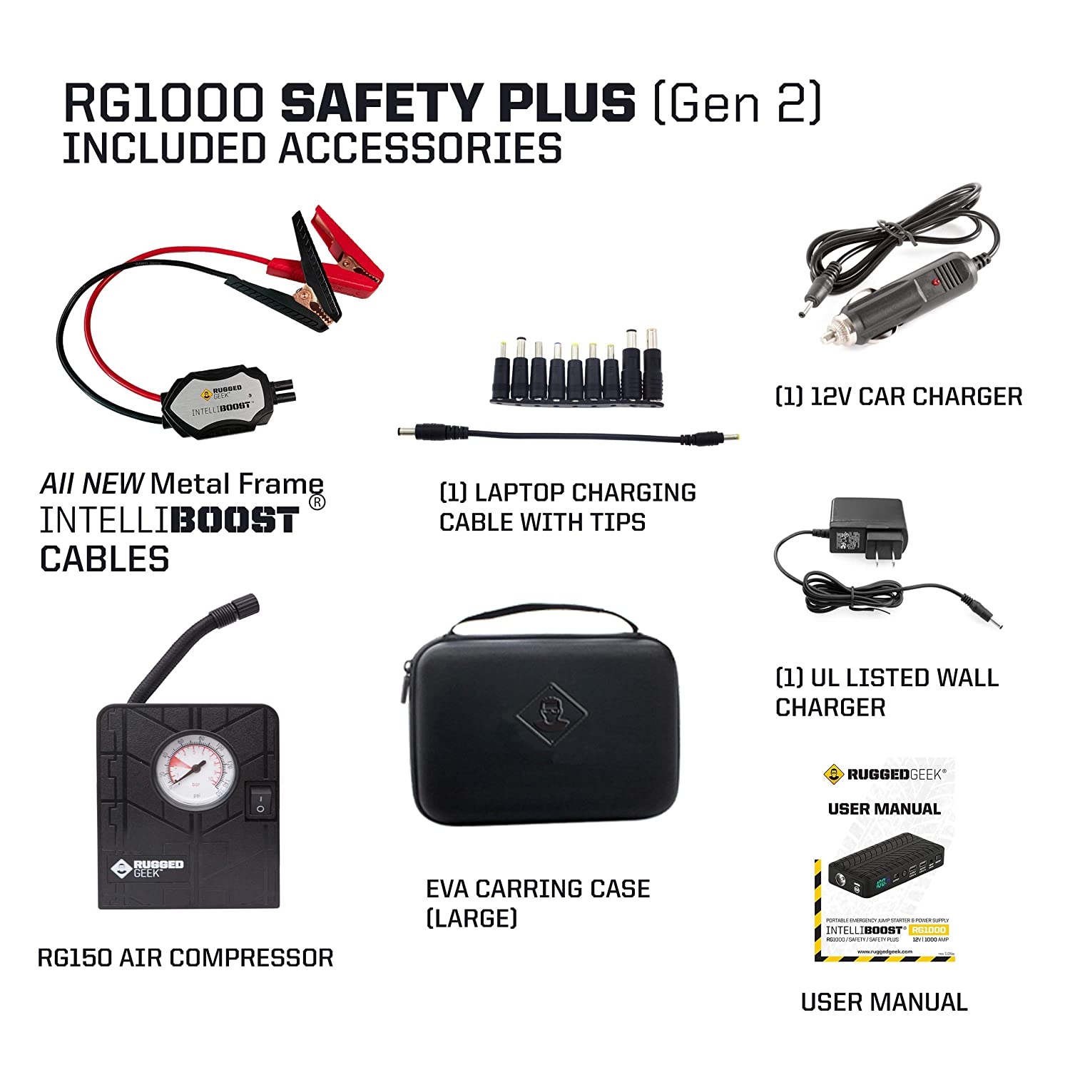 LED Flashlight NEW for 2019 INTELLIBOOST Smart Cables Rugged Geek RG1000 Safety GEN2 1000A Portable Car Jump Starter USB /& Laptop Charging Battery Booster Pack and Power Supply with LCD Display