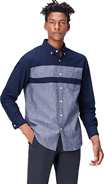 Marca Amazon - find. Camisa Vaquera de Manga Larga para Hombre, Azul (Dark Vintage Wash), L, Label: L: Amazon.es: Ropa y accesorios