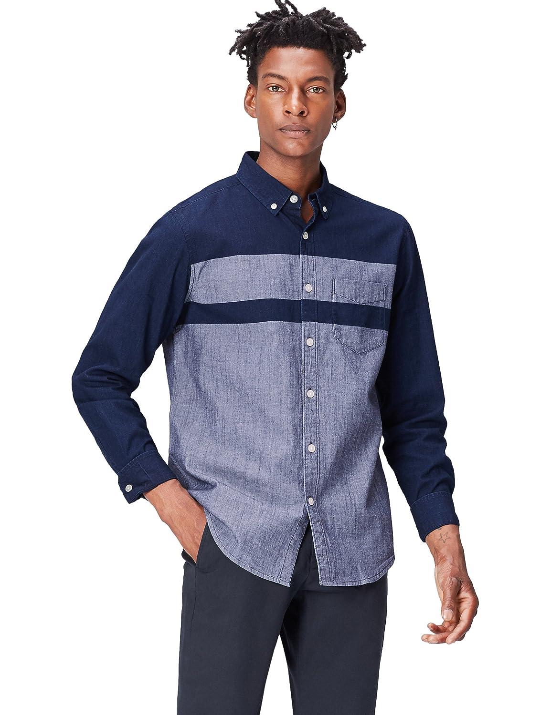 TALLA 52 (Talla del Fabricante: Large). FIND Camisa Vaquera de Manga Larga para Hombre