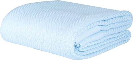 Amazon Com Threadmill Home Linen 100 Combed Cotton Blanket Herringbone Soft Breathable Full Queen Size Blue Kitchen Dining