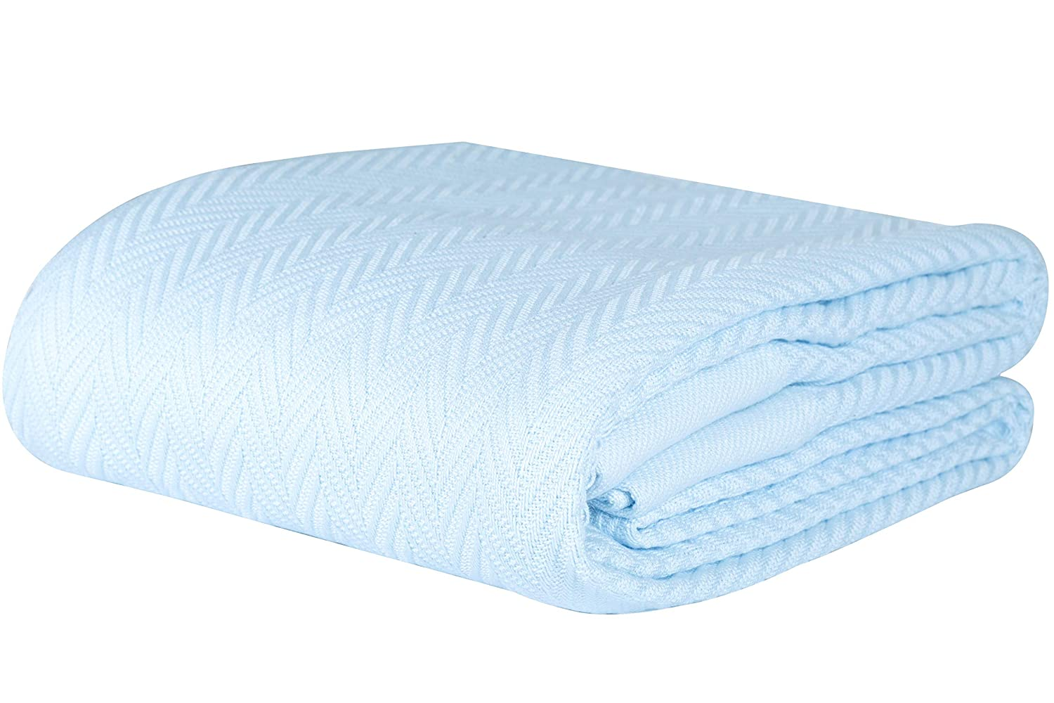 Threadmill Home Linen 100% Cotton Blanket Herringbone Soft Breathable King Size Blue