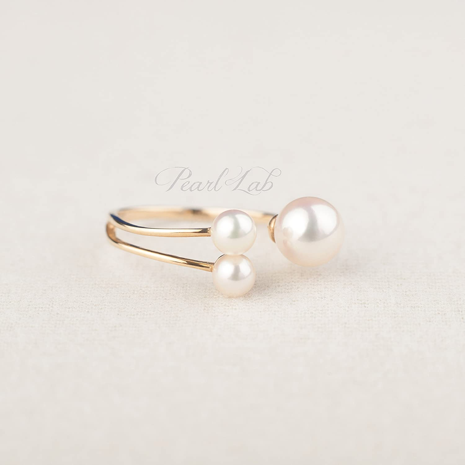 Pearl Ring | 4.2mm & 6.8mm Round White Akoya Sea Pearl | Excellent Luster | 14K Solid Gold | Adjustable Ring | Minimalist Everyday Jewelry