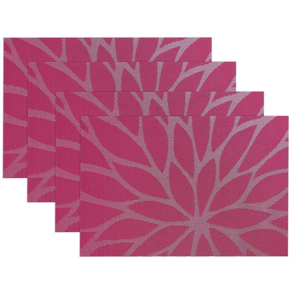 Yalulu Fleur Sets de table Table de salle /à manger Sets de table en PVC pour isolation thermique anti-tache tiss/é en vinyle de cuisine Set de table Sets de table Lot de 4 marron