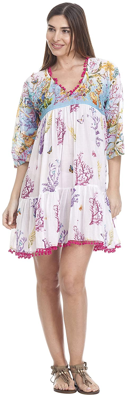 TALLA 40 (Tamaño del fabricante:M). PEACE&LOVE BY CALAO Vestido para Mujer Multicolor (Unico Brz) 40 (Tamaño del fabricante:M)