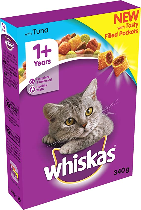 WHISKAS 1+ Cat Complete Dry with Tuna 340g: Amazon.co.uk ...
