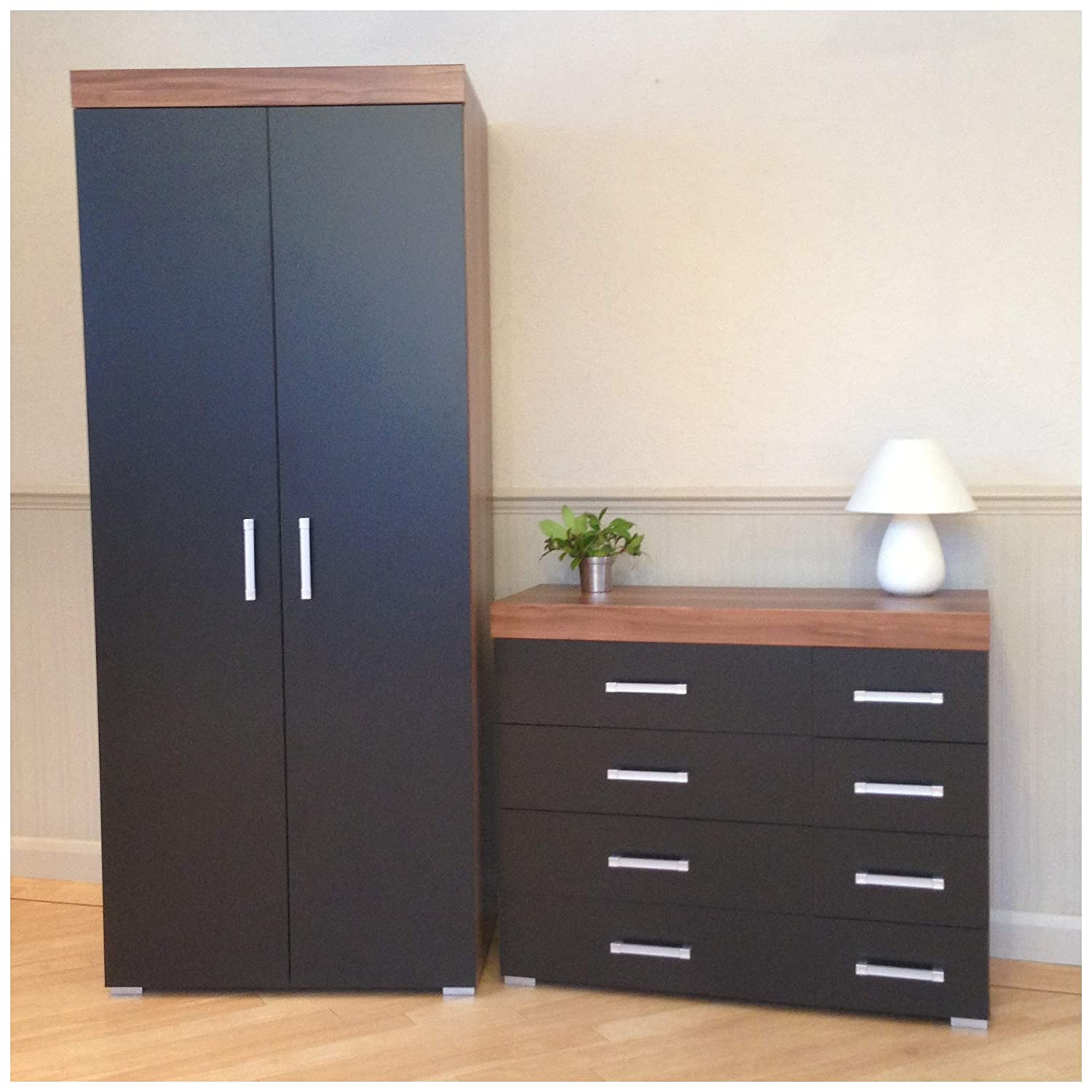 DRP Trading 2 Door Wardrobe & 4+4 Drawer Chest in Black & Walnut Bedroom Furniture Set 8 Draw