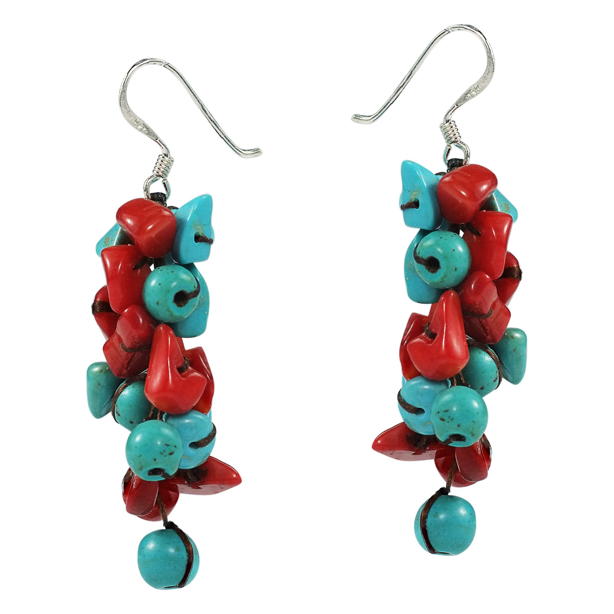 Cluster Simulated Turquoise and Reconstructed Coral Drop .925 Sterling Silver Earrings by AeraVida (Image #2)