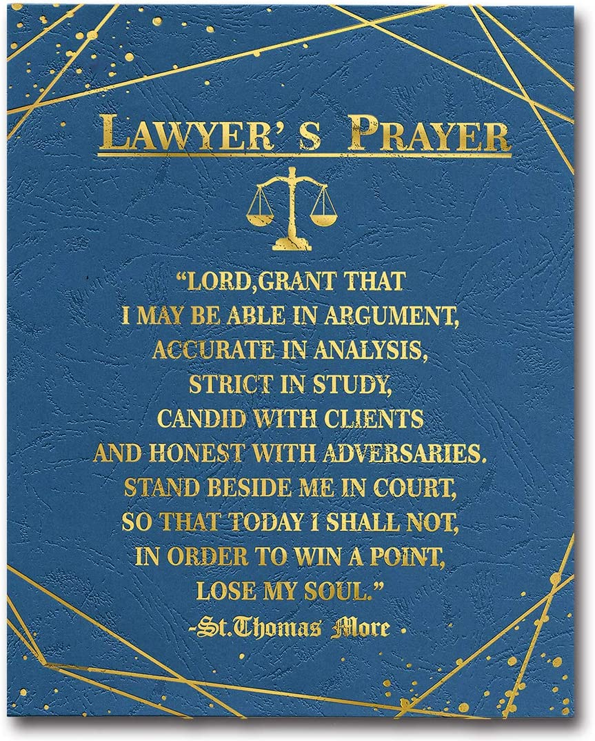WIEZO-USA Lawyer Gold Foil Print Poster Wall Art, Law School Gift,Law Office Wall Art,Gift for Law Students, Lawyer's Prayer (8x10 inch, UNFRAMED)