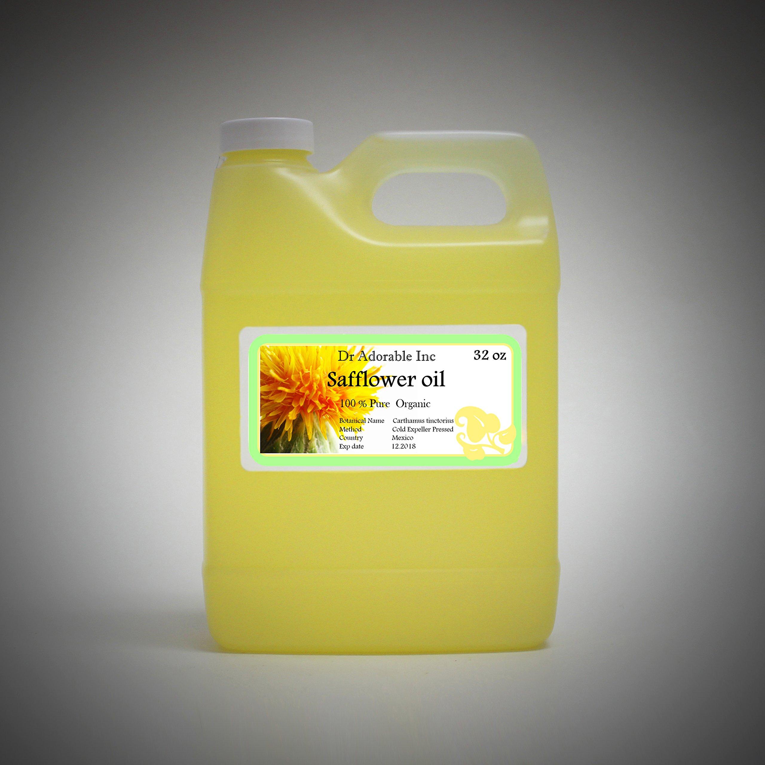 Safflower OIL High Oleic Organic 100% Pure 32 Oz / 1 Quart by Dr Adorable