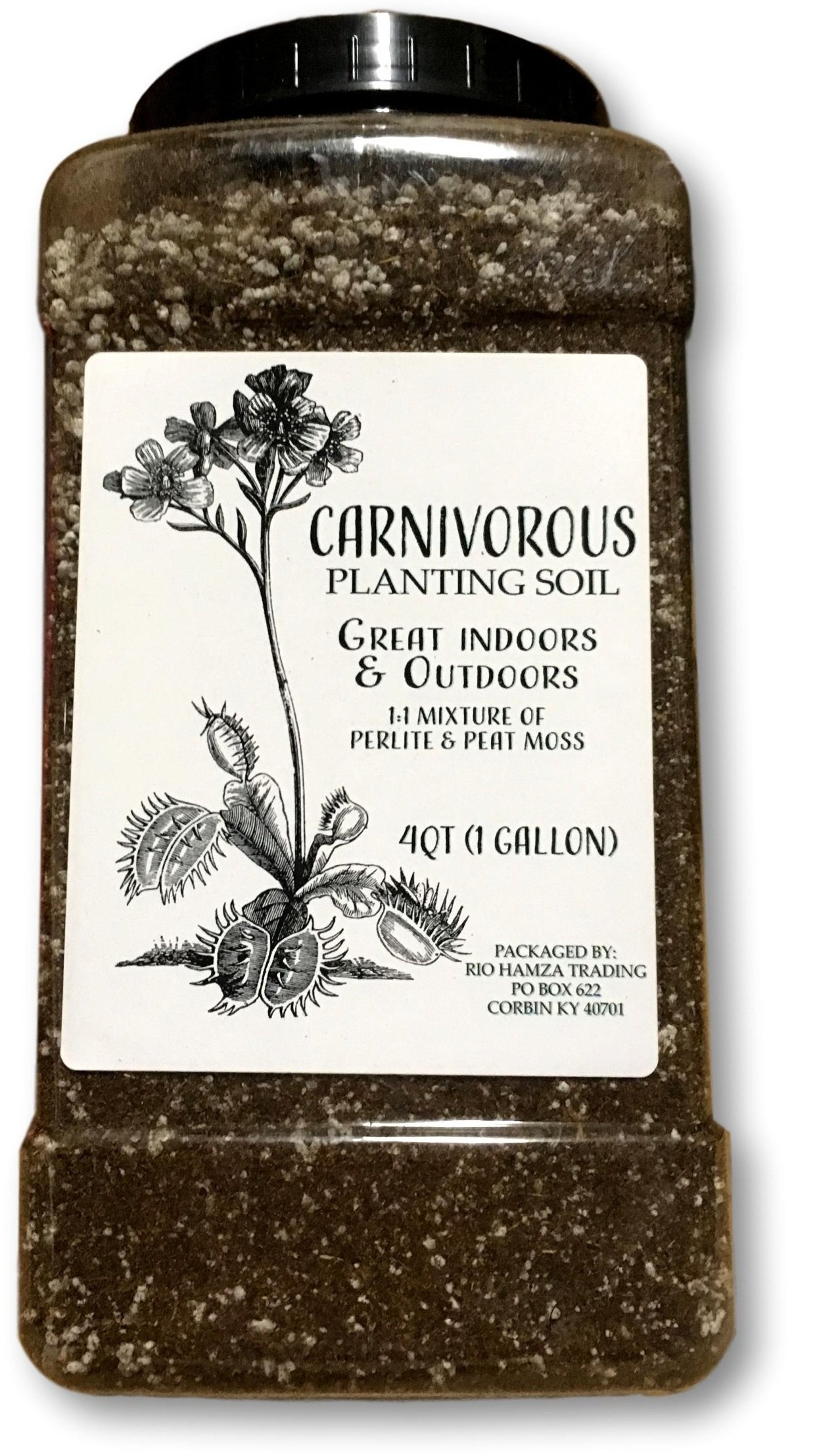 All Natural Carnivorous Plant Soil, 1 Gallon (4qt) of Soil, Reusable Plastic Storage Container, Great Soil for Venus Fly Traps, Sundews, and Pitcher Plants by Rio Hamza Trading