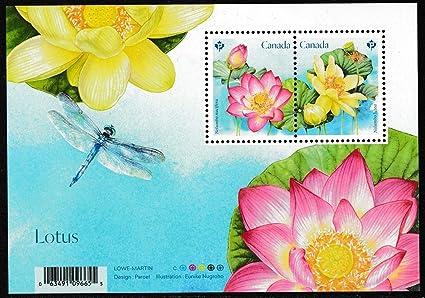 canada 2018 lotus india national flower indian theme miniature sheet