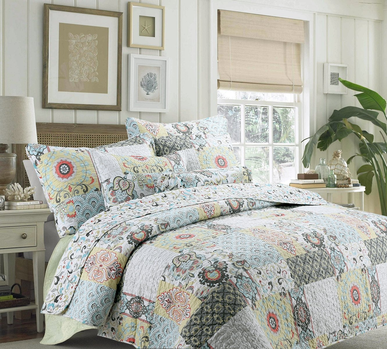 Cozy Line Home Fashions Moorea Coral Turquoise Yellow Grey Flower Print Patchwork 3-piece Bedding Quilt Set, Reversible Coverlet, Bedspread, Gift for women. (Full/Queen Set)