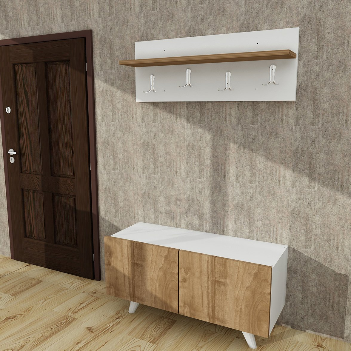 Hayes Modern Coat Rack & Side Table Set 31'' x 16'' x 12'' / Storage Cabinet / Accent Table