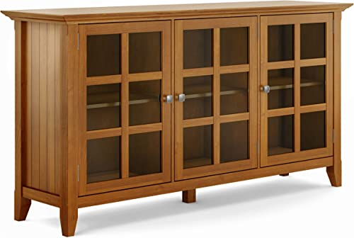 Simpli Home Acadian SOLID WOOD 62 inch Wide Rustic Wide Storage Cabinet in Light Golden Brown, with 3 Tempered Glass Doors, 3 Adjustable Shelves