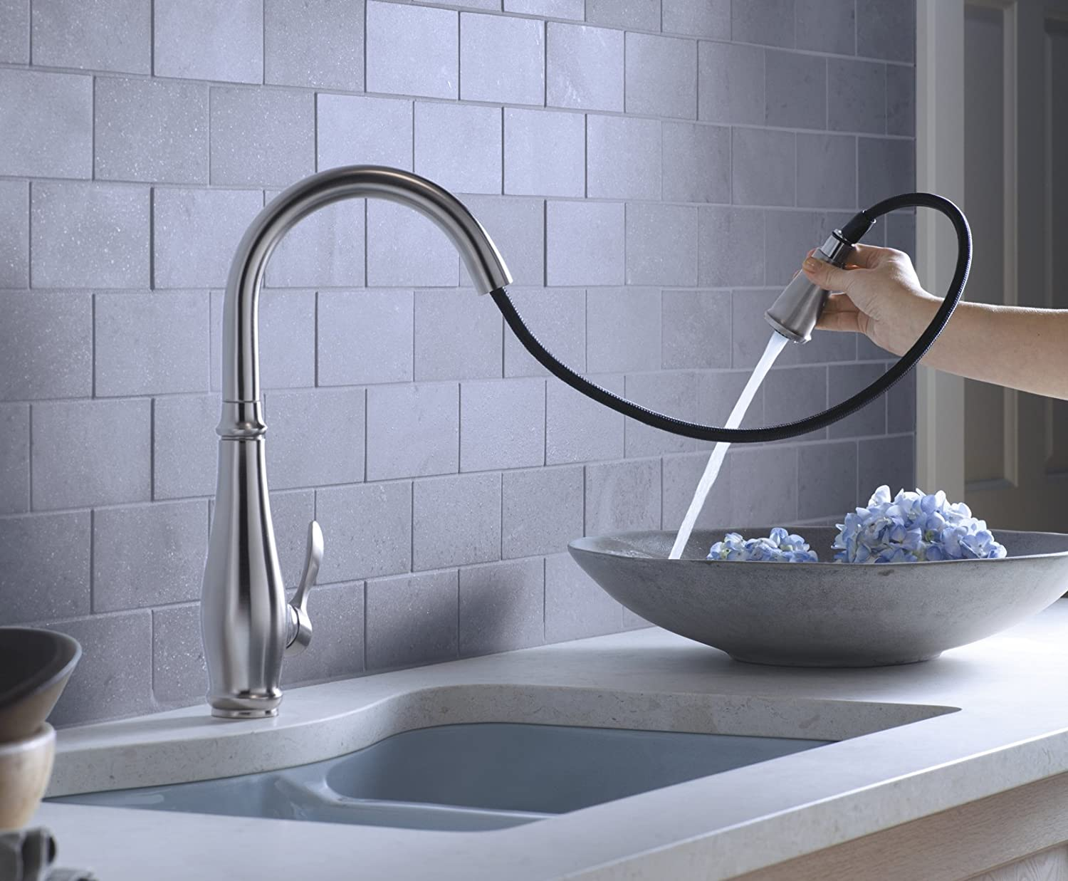 Kohler K-780-VS Cruette Pull-Down Kitchen Faucet, Vibrant Stainless ...