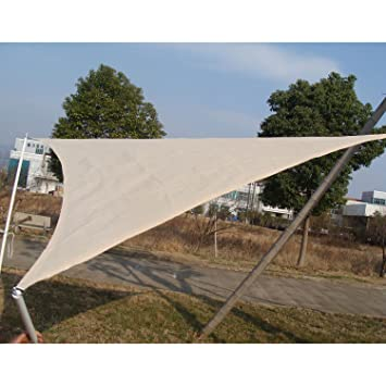 outsunny triangle outdoor patio sun shade sail canopy 10feet light brown